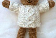 Knitted teddies mice