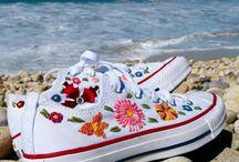 #Zapatillas con flores