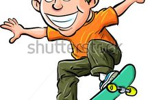 Cartoon Skaters and extreme sport