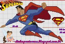 Super Heróis em ponto cruz