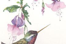 Blumenbild mit Vogel