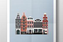 근대건축 flat illust