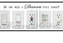 Dimmer / Rocker Light Switch Plate Covers (Decora Style) / Dimmer / Rocker / Decora light switch cover options. All available from www.modernswitch.com