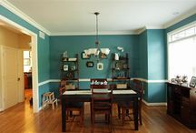 Teal dining / My teal dining room. Antique walnut table, hutch and buffet that we bought 34 years ago after we got married. Curio cabinet my husband bought me for our 25th anniversary filled with my Precious Moments figurines. Hard wood floors.   We finished the room 03/16/2014.  We have now started living room. / by Ann Murphy
