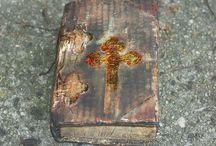 Stara Księga BIBLIA / postarzona książka w stylu sredniowieczny wolumin nowe jak stare