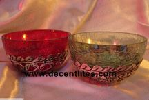 CRACKLE GLASS BOWL WITH METAL FITTING