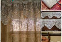 no sew burlap & lace curtains