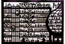 Papercutting works-black and white / Papercutting art by chihiro takeuchi
