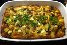 Strata / Stratas are egg, cheese, and bread casseroles that puff up when baking.