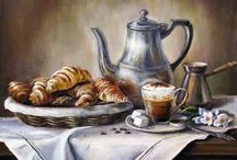 Чай и кофе от Ольги Воробьевой Tea & Coffee from Olga Vorobyova / Paintings depicting nowadays Russian traditions of tea and coffee drinking. In her pictures it always goes with flowers, pastries, fruits, honey or jam.