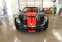 Corvette / This is a 2014 Corvette we did in the shop. The customer wanted to customize the car with red stripes to match the interior.