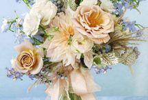 Elisabeth / powder blues, creams, blushes using a neutral colour palette in delicate, soft, meadowy flowers