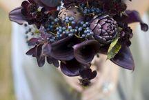 Dark purple bouquet of the bride