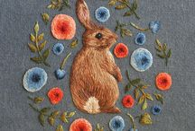 ♥ embroidery love ♥ / handmade embroidery, cottage, vintage, woodland animals and folk