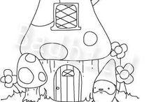 HOUSES-GNOMES- MUSHROOMS- ETC / SM & LG  HOUSES----GNOMES---GNOME HOUSES- MUSHROOM HOUSES---MUSHROOMS---CONCRETE / by Bonnie Anderson