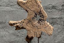 esculturas  de trozos  madera