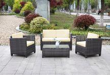 Garden Patio Set Bench Glass Table Outdoor Rattan Modern Furniture Seats Day Sun