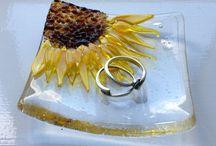 Aspen fused glass plate sunflower trinket tray