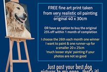 facebook competition - win a free oil painted dog portrait of your dog! / Every month I run a competition on Facebook for dog lovers so anybody anywhere can win a free very realistic and lifelike painted portrait of their beloved pooch. I paint just two per month - one is realistic and the other is a looser style, smaller picture...  See https://www.facebook.com/finestoilpaintings for details  -read carefully. Here are highlights from June 2014 onwards....#dog #freebie #competition #dogportrait #petportrait #johncarwithen