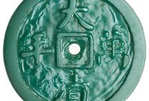 Jade/glass coin-shaped charms