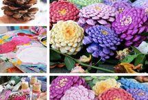 flowers/pine cones/decorations