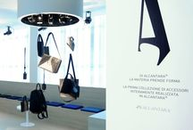 """Showroom Alcantara / """"A place of discovery, reinterpreting a natural horizon through light, transparency and the suggestion of colour for Atelier Alcantara® and the launch of its innovative collection of bags and accessories."""""""