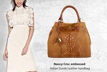 Nancy Croc embossed Italian Leather handbag
