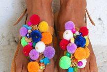 pom pom sandals/ boho sandals/ boho flats/ decorated sandals/ magosisters