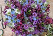 Blues and Purples / Wedding bouquets inspired by the full spectrum of blue and purple hued flowers.