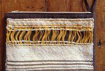 little bags / piccole borse fatte a mano con inserti batik e tessitura