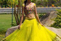 Bollywood Style Neon Lime Color Net Lehenga