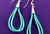 Turquoise / Just in from New Mexico, these beautiful Turquoise earrings are handmade with Sterling Silver. The color of the turquoise varies from sky blue to green depending on the amount of copper and iron.