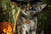 Witch Cats / Pins and images about witchy cats, witches' cats and black cats.