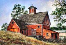 Woodburning barns, farm scenes