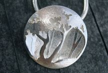 Etched silver jewellery
