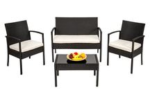 Set Rattan Garden Black Patio Furniture Outdoor Bench Table Wicker Family Enjoy