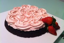 Holiday Sweets / We created this especially for Valentine's Day.  Our fudge brownie cake, covered with our strawberry buttercream frosting.  This combination will knock your sock off.