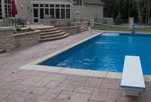 Colored Concrete Pool Decks / Examples of beautiful pool decks created using Davis Colors concrete pigments