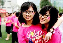 áo đồng phục lớp màu hồng