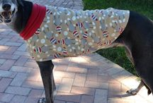 Sock Monkey Dog Coat / The ever popular Sock Monkey Jammie is at www.duds4buds.com for you Greyhound, Whippet, and Italian Gryehound.