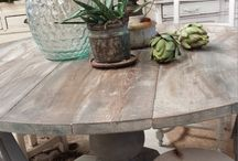 RETRO SCANDINAVIAN DININGTABLE MILK PAINTED BASE / What a stunning DININGTABLES in driftwood old recycle wood Tops with MILK PAINTED recycle BASE in stone antraciet grey color  www.ginger-cinnamon.nl