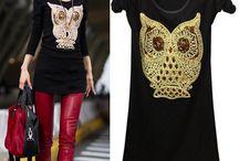Roupas de Corujas  .•*•❥¸.•♥♥•✽ / Roupas corujas- owl clothing- vêtements Hibou- ropa Owl / by Cristiane Corrêa