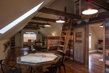 """Lake House - Bunk Room Game Room - / A """"dorm"""" room for kids - built in bunks, area for lounging and maybe a ping-pong table / by Kari Clevinger"""