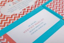 Coral & Blue Chevron / by Gourmet Invitations