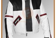 Chaser Box Black & White Biker Leather Jacket For Men