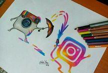 Zeichnungen mit Logos (insta & co)