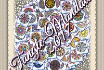 Moje TangleMandaly 2017 / Moje TangleMandaly sú inšpirované vzormi zo stránky http://pattern-collections.com/index.php/pattern-focus/. Ich priemer je 15 cm a kreslené sú voľne rukou bez použitia šablón a vymaľované klasickými farbičkami.