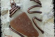 sea glass necklaces / necklaces with sea glass from the sea shores of Corfu, Greece