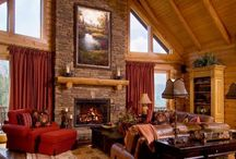 Log Home Fireplaces / Whether it's a real fireplace, a wood stove or gas logs, a fireplace adds both warmth and comfort to a log home.  Gather the family and share some quality time together in front of the beautiful flames.  Turn off the TV and disconnect from phones and wi-fi - connect with each other.