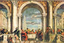 Renaissance (volgorde van onder naar boven) / Een bord voor een schoolopdracht over de Renaissance.
